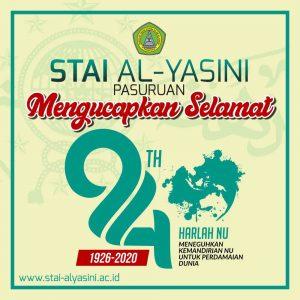 STAI Al-Yasini Pasuruan Mengucapkan Selamat Harlah NU ke 94