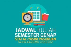 Jadwal Kuliah semester 2020-2021 Genap