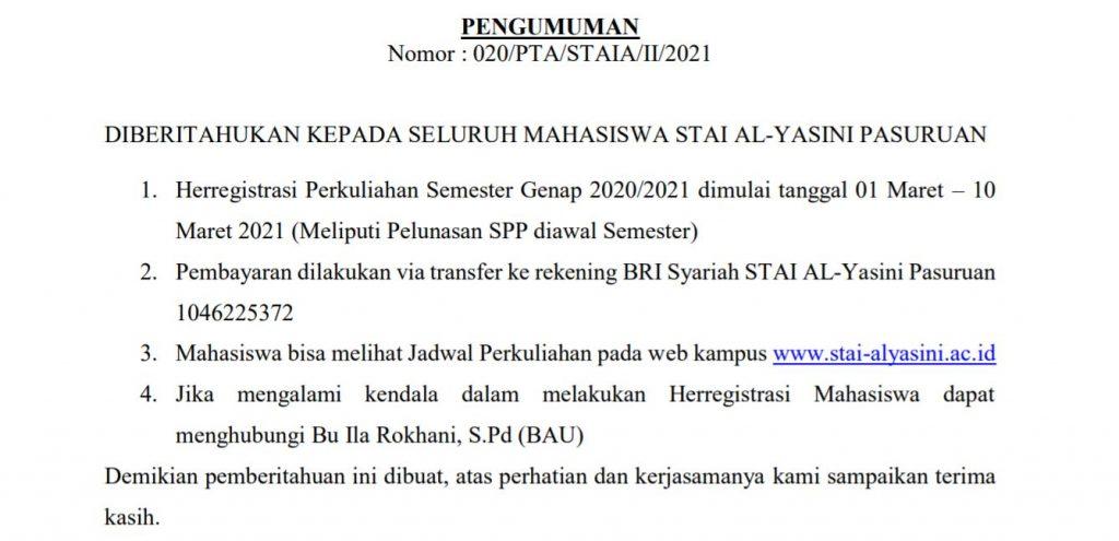 Herregistrasi Perkuliahan Semester Genap 2020-2021